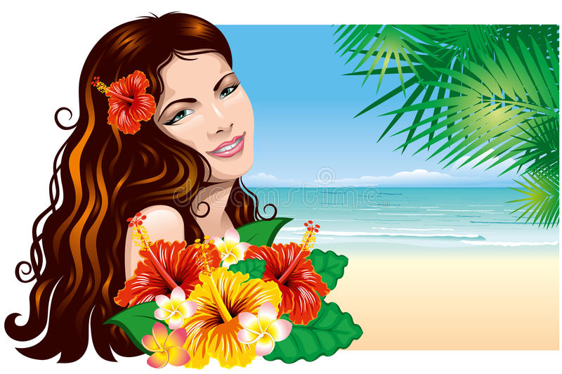 Fille sur la plage illustration de vecteur