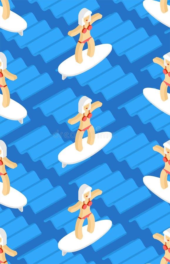 Fille sur la planche de surf sur le modèle de vague sans couture Fond de surfer de femme Texture de vecteur illustration de vecteur