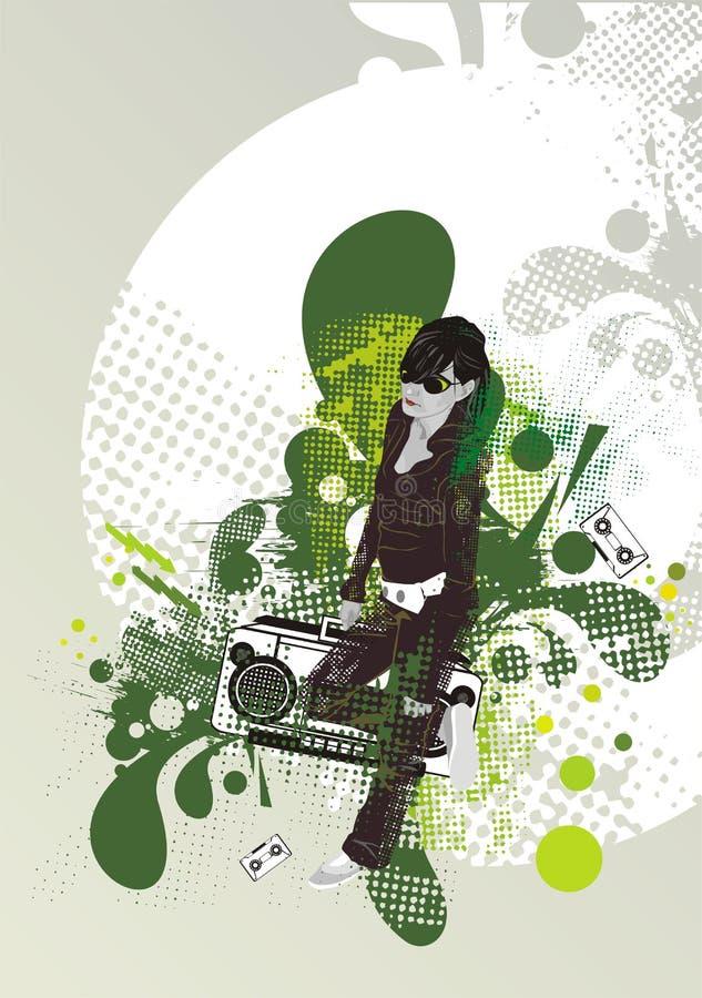 Fille sur la rétro texture abstraite illustration de vecteur