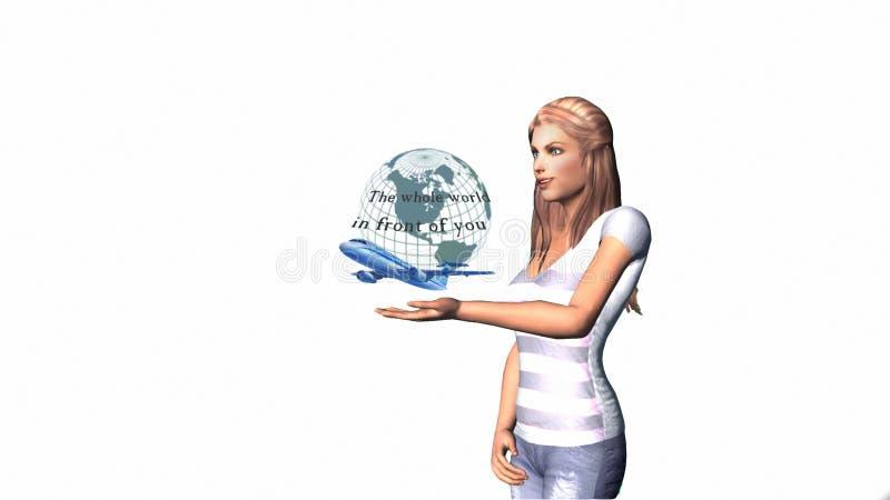 Fille, sur le fond blanc, des regards au globe terrestre et des avions illustration stock