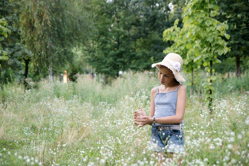 Fille sur le fond d'herbe photographie stock libre de droits