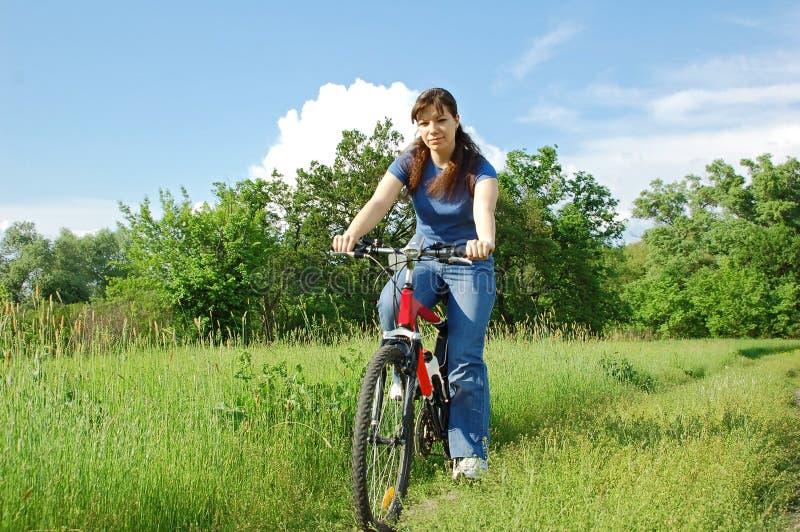 Fille sur le vélo dans le domaine images stock
