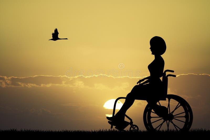 Fille sur les regards de fauteuil roulant au coucher du soleil illustration stock