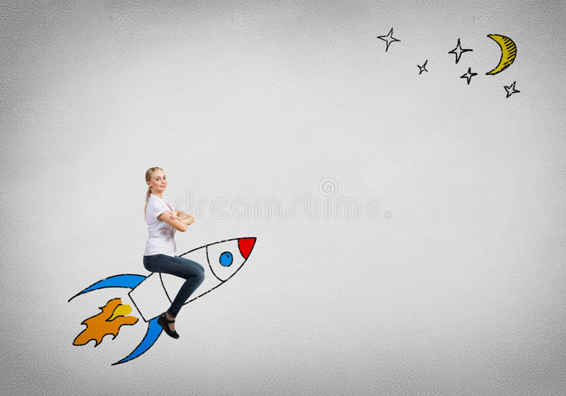 Fille sur Rocket photos stock