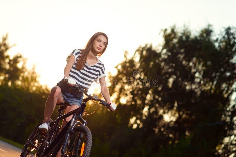 Download Fille Sur Une Bicyclette Au Coucher Du Soleil Image stock - Image du lifestyle, cycle: 77162193