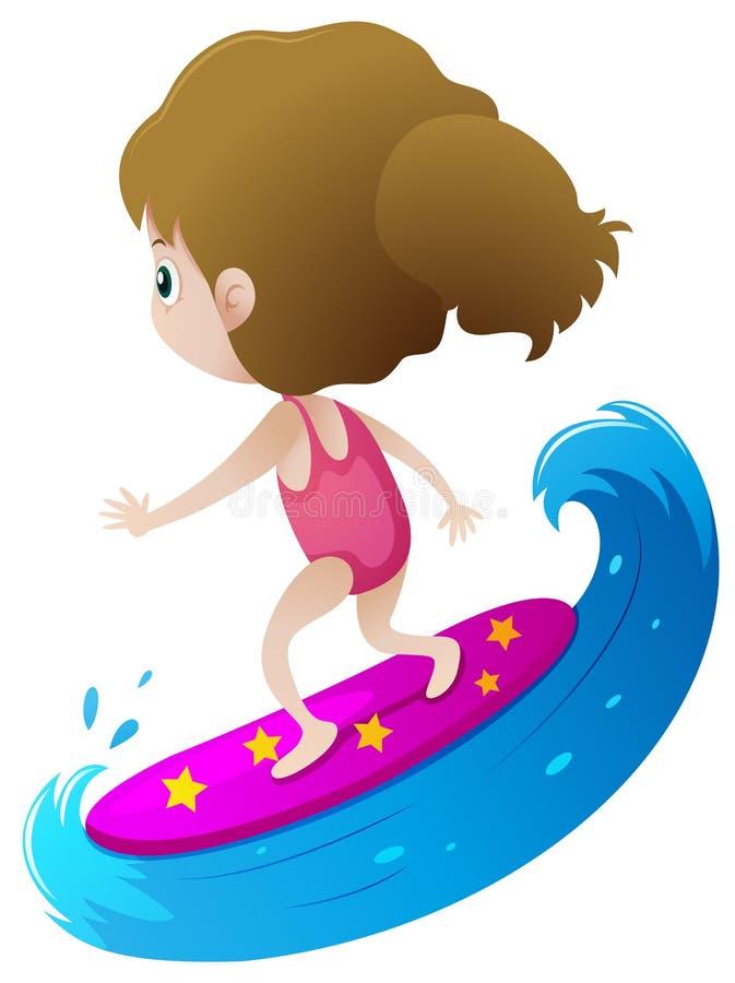 Fille surfant sur la grande vague illustration de vecteur