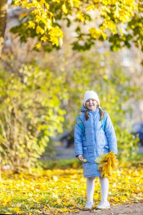 Fille tenant des feuilles d'érable images stock