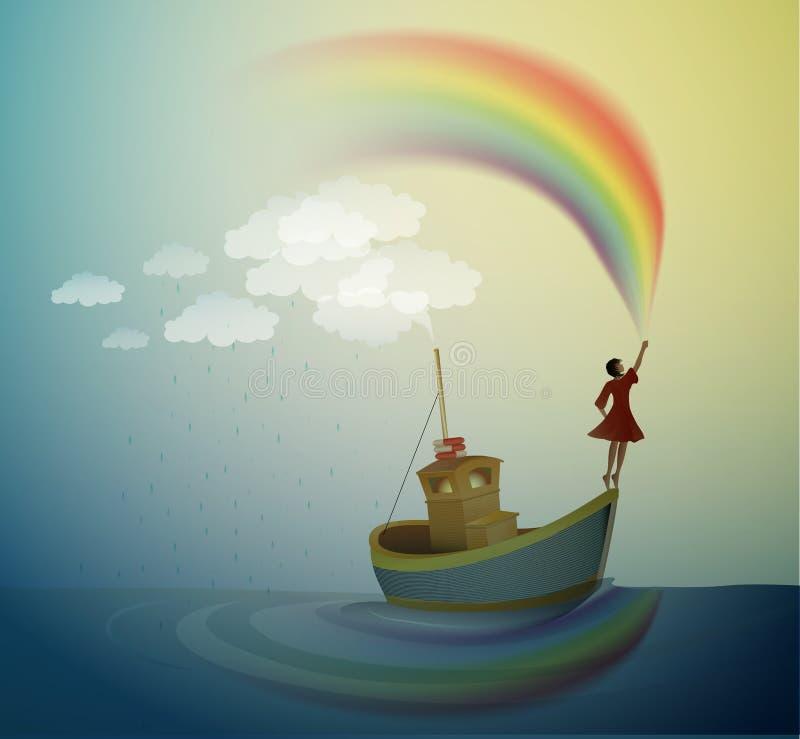 Fille tenant l'arc-en-ciel et la position sur le dessus du bateau, bateau magique dans le pays des merveilles, scène du pays des  illustration stock