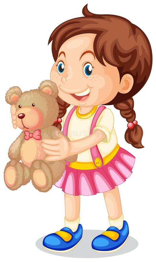 Fille tenant l'ours de nounours brun illustration stock