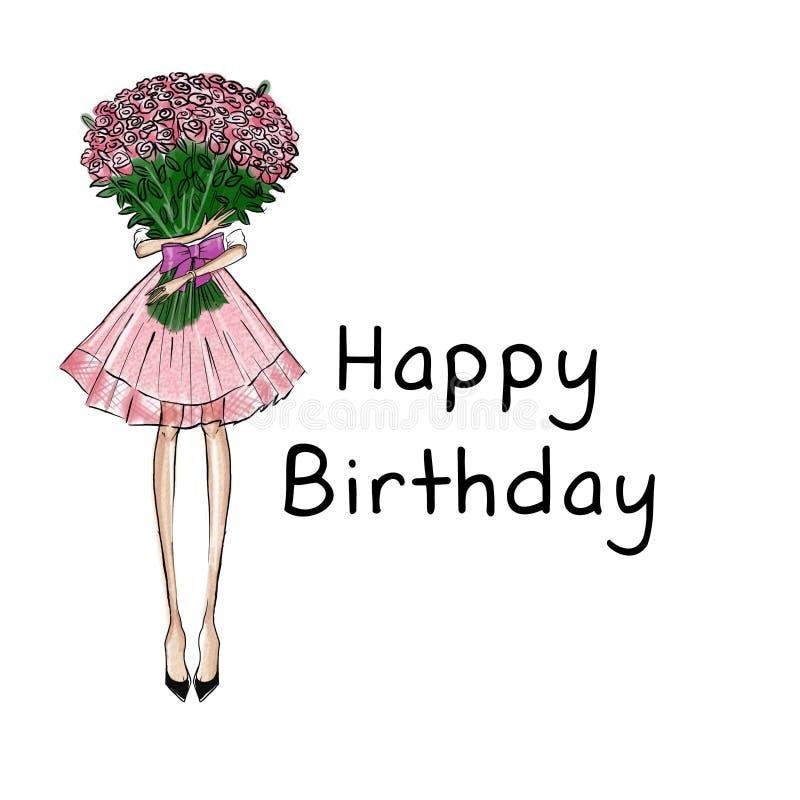 Fille Tenant Le Bouquet De Roses Avec Le Fond Des Textes Joyeux Anniversaire Illustration Stock Illustration Du Anniversaire Fille 61397725