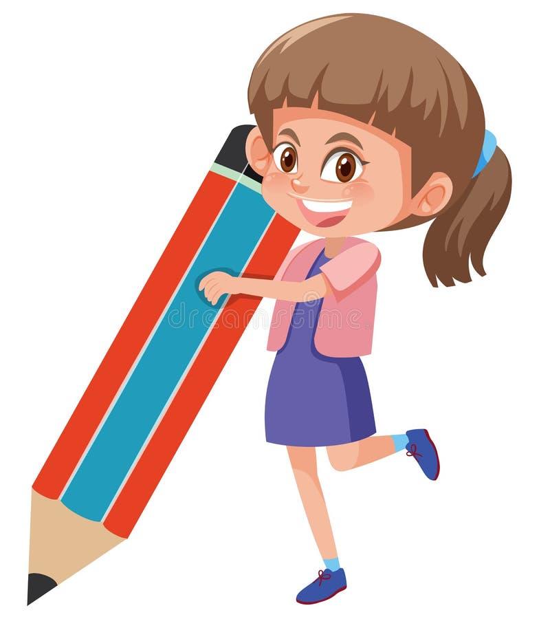 Fille tenant le grand crayon illustration libre de droits