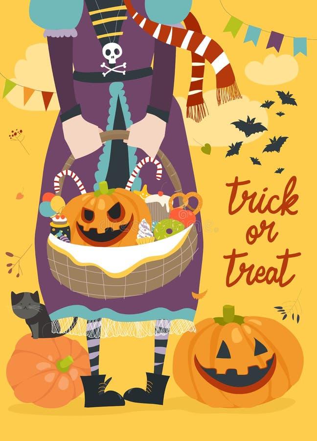 Fille tenant le panier avec le potiron et les bonbons illustration de vecteur