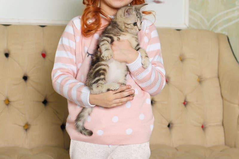 Fille tenant un chaton rayé photos stock