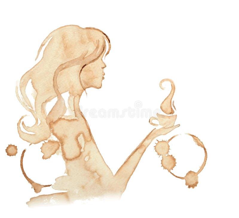 Fille tenant une tasse de café, illustration stock