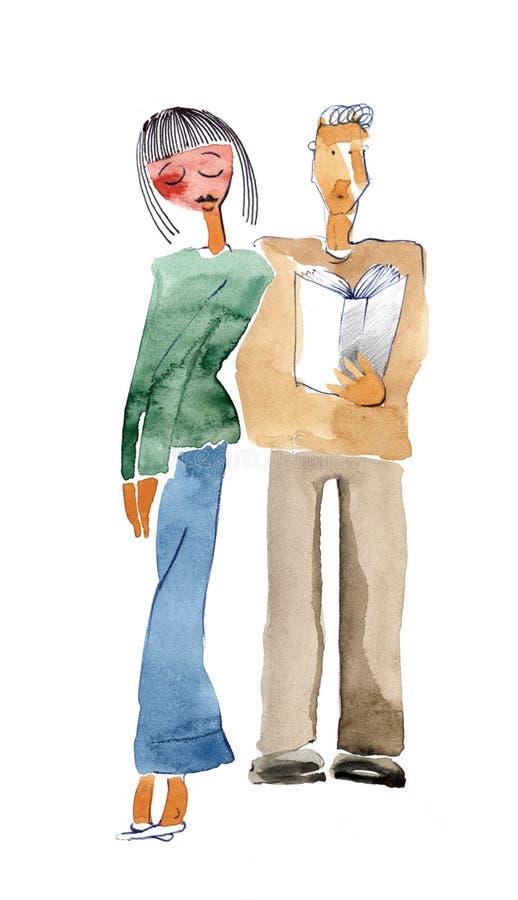 Fille timide dans l'amour illustration stock
