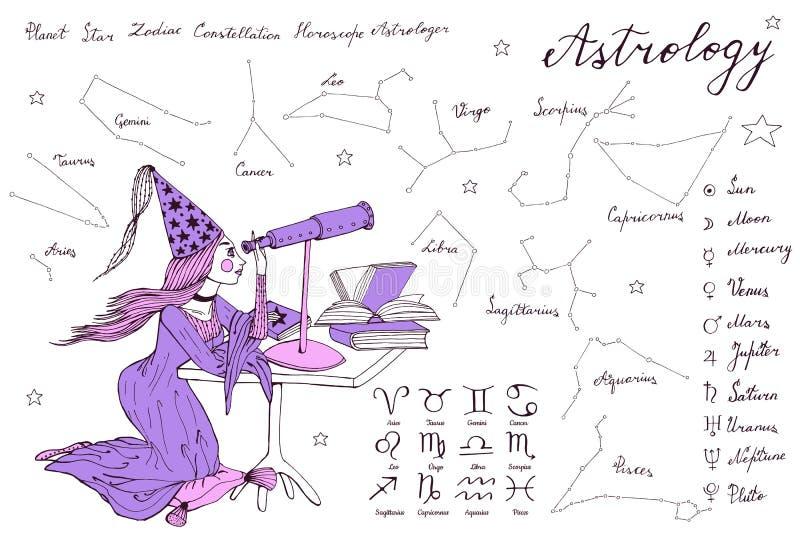 Fille tirée par la main d'astrologue d'astronome avec de longs cheveux et robe illustration libre de droits