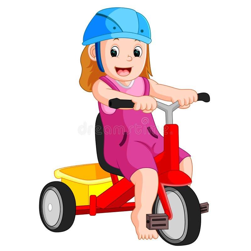 fille très mignonne sur le tricycle illustration libre de droits