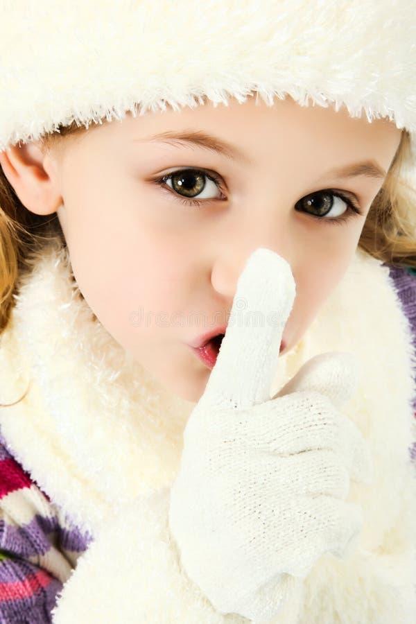 Fille tranquille de Shhhhh gardant le secret image stock
