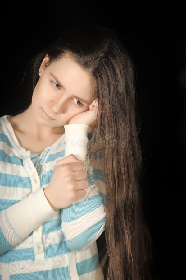 Fille triste de brunette photo libre de droits