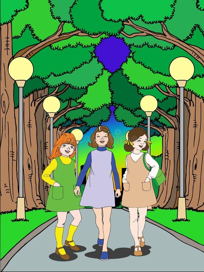 Fille trois mignonne marchant sur le stationnement illustration stock