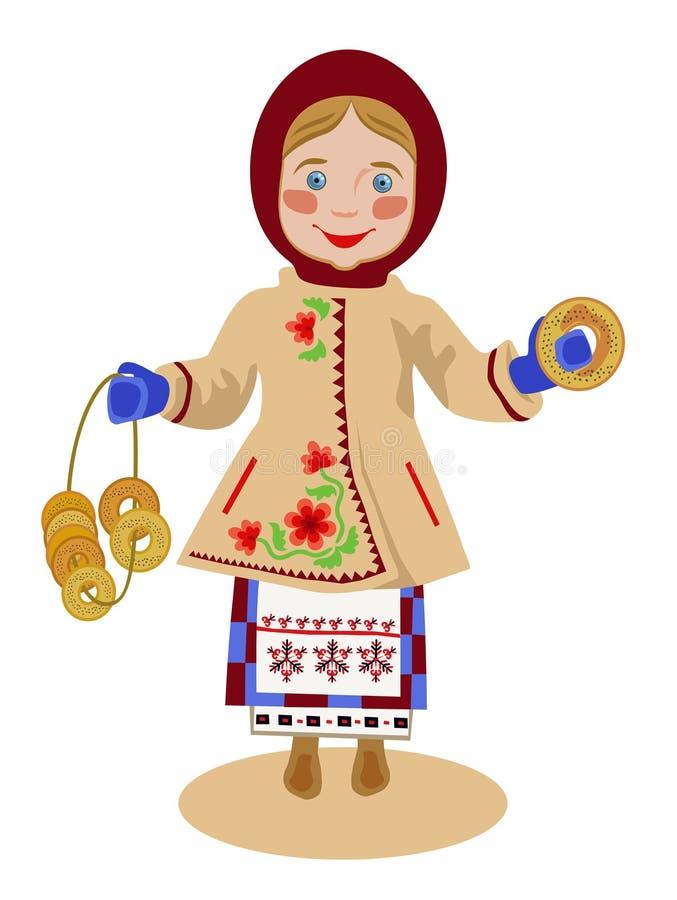 Fille ukrainienne avec des bagels illustration libre de droits