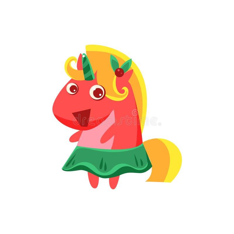 Fille Unicorn In Green Skirt illustration stock