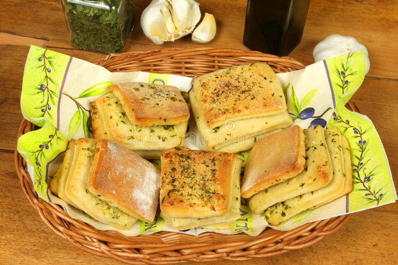 Filled buns with garlic stock images