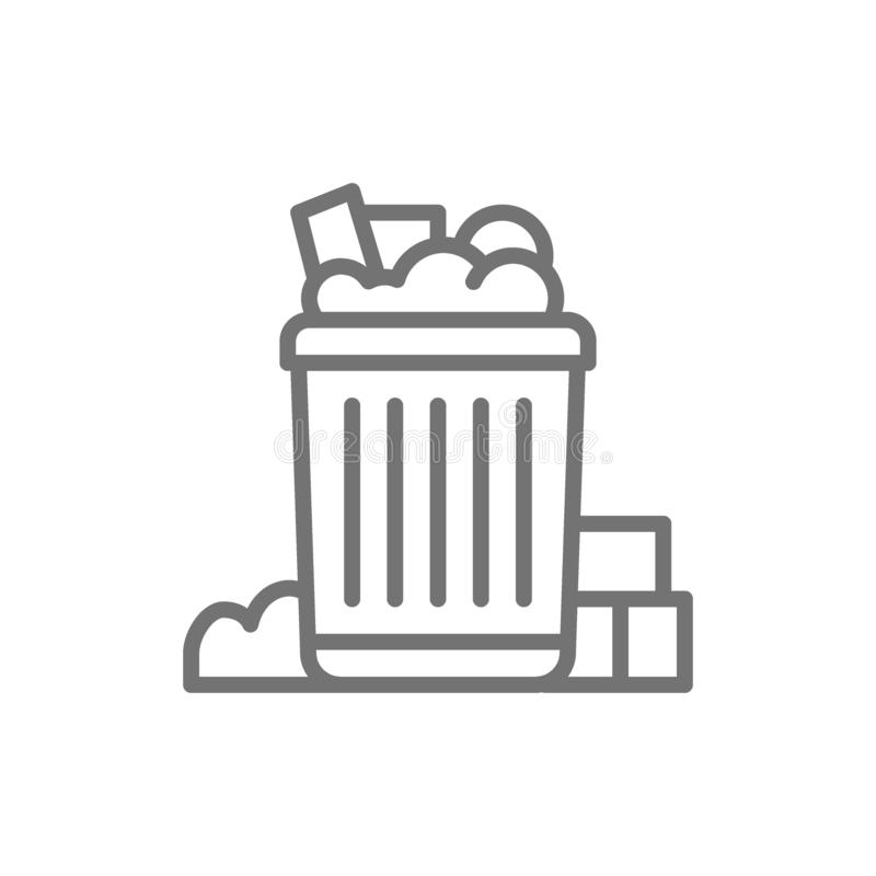 Filled can bin, garbage, waste line icon. vector illustration