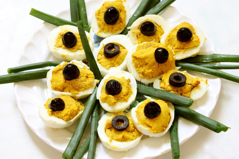 Download Filled Eggs With Olives On Top Stock Photo - Image: 19130334