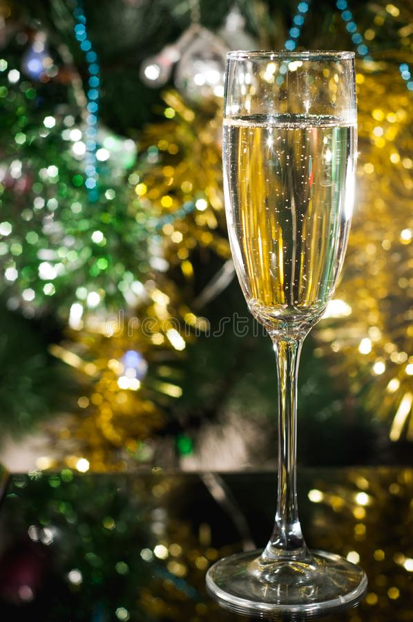 A glass of champagne under the Christmas tree royalty free stock photos