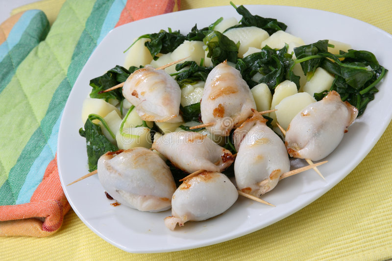 Filled grilled squid royalty free stock image