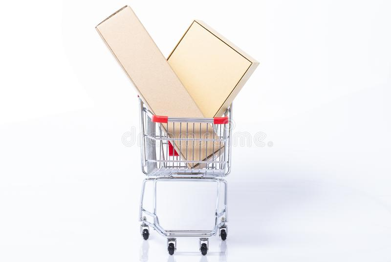 Filled shopping cart stock images