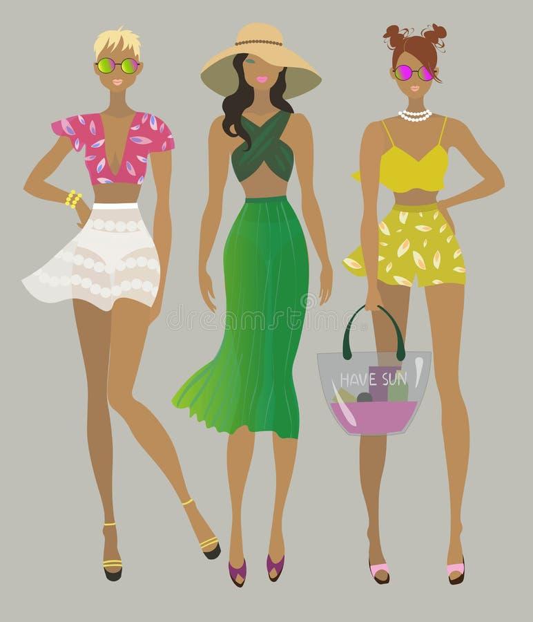Filles élégantes d'été Modèles de mode illustration libre de droits