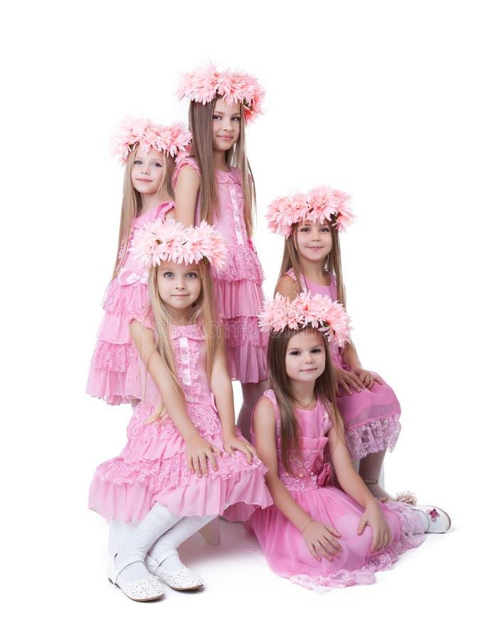 Filles assez petites en robes et guirlandes roses image libre de droits