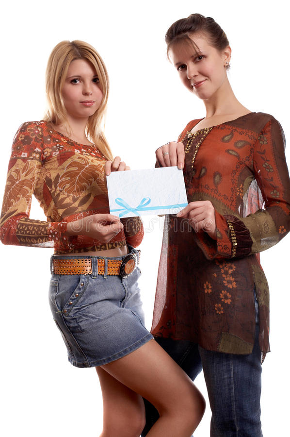 Filles avec l'enveloppe photographie stock