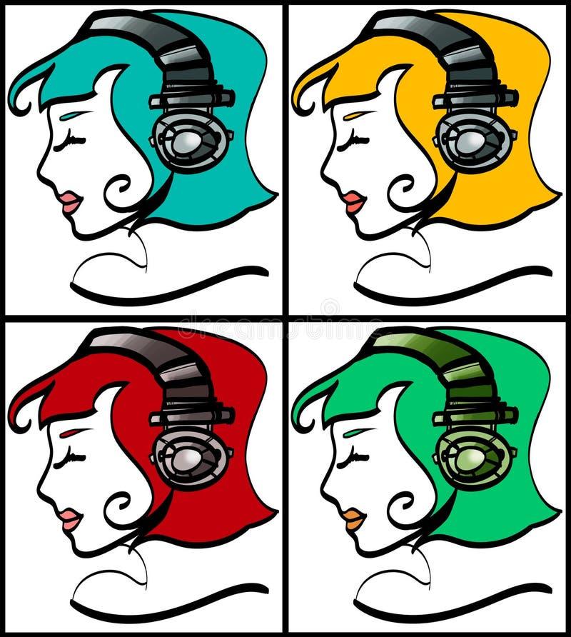 Filles d'écouteur images libres de droits