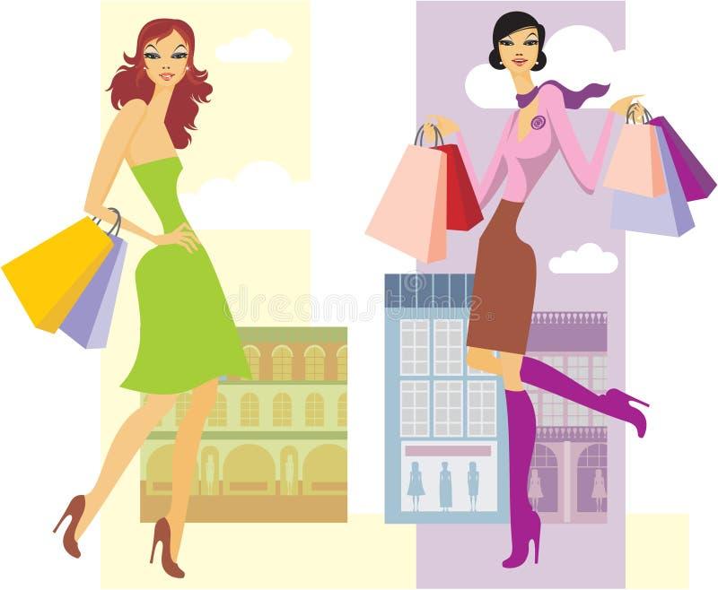 Filles d'achats illustration stock