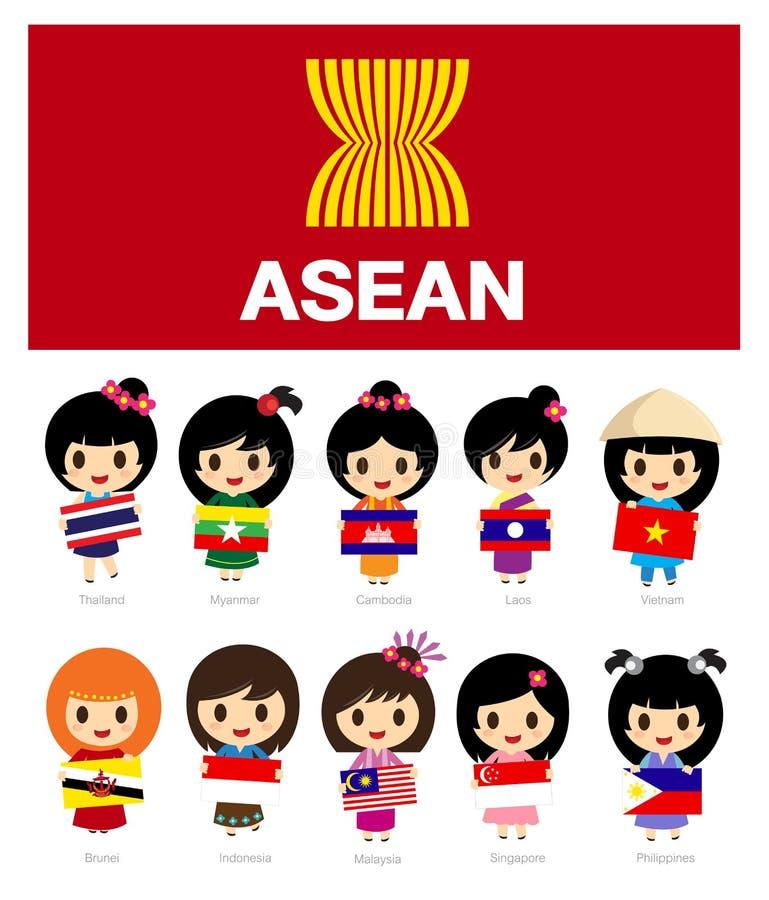 Filles d'ASEAN avec le drapeau - l'AEC illustration stock