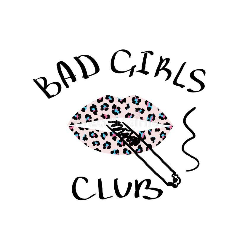 Filles d'impression de T-shirt les mauvaises matraquent avec le léopard rose de lèvres texturisé et une cigarette Conception à la illustration libre de droits