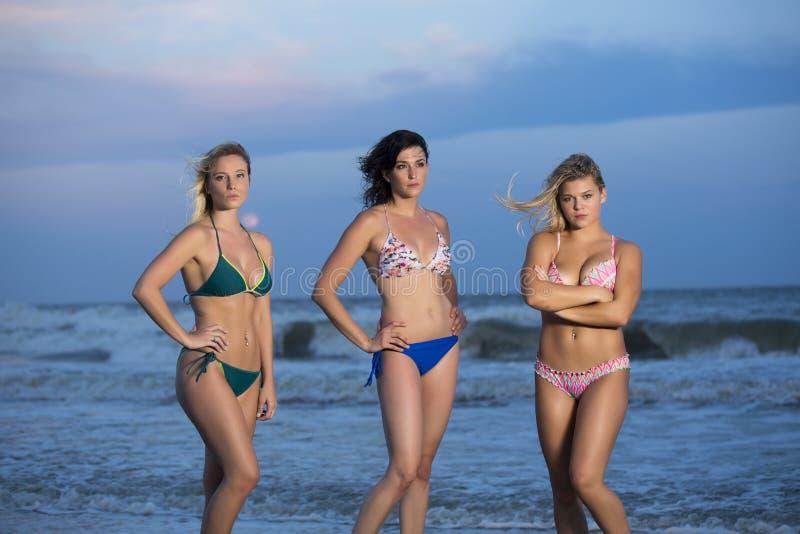 Filles dans des bikinis se tenant sur la plage images libres de droits