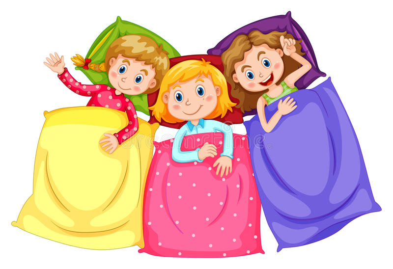 Filles dans des pyjamas à la soirée pyjamas illustration de vecteur