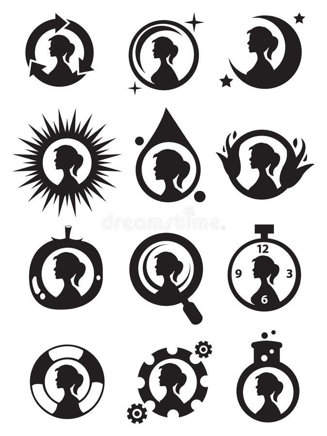 Filles dans l'ensemble d'icône de cercle illustration stock