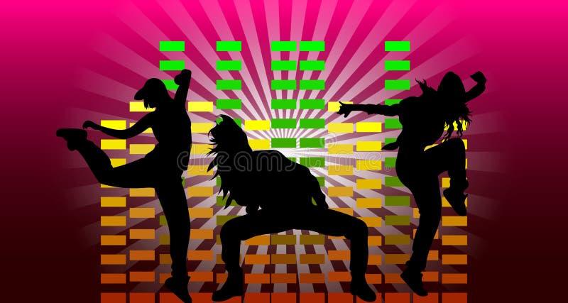Filles dansant l'houblon de hanche sur le fond de l'égaliseur illustration de vecteur