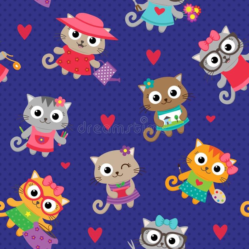 Filles de chat avec différents passe-temps illustration de vecteur
