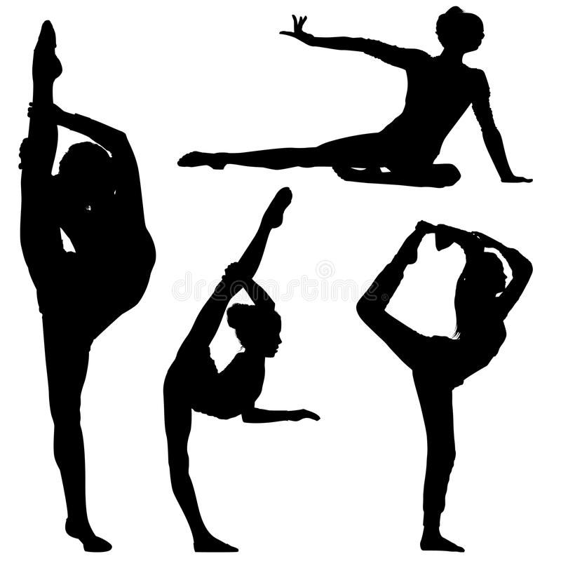 Filles de gymnaste de silhouette illustration stock