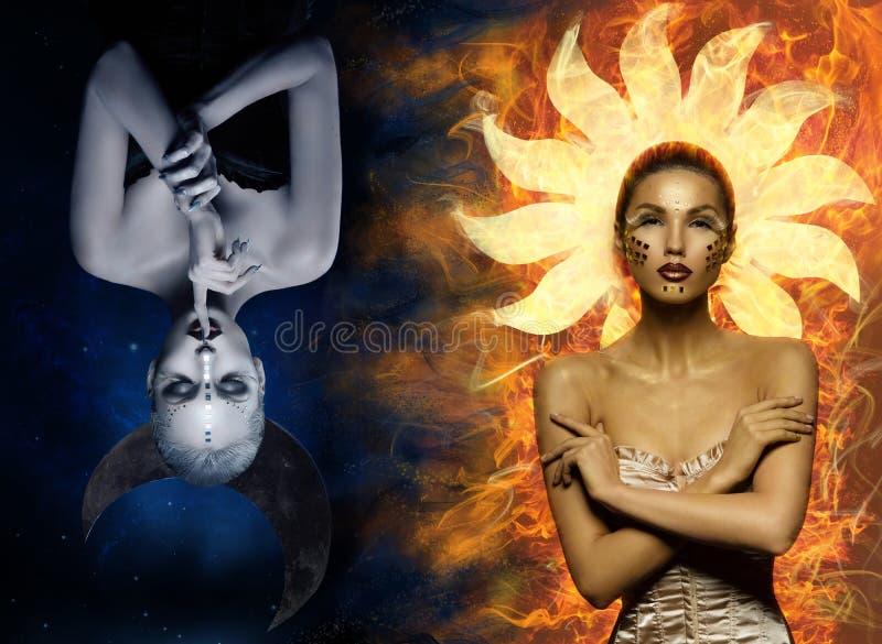 Filles de lune et de soleil image libre de droits