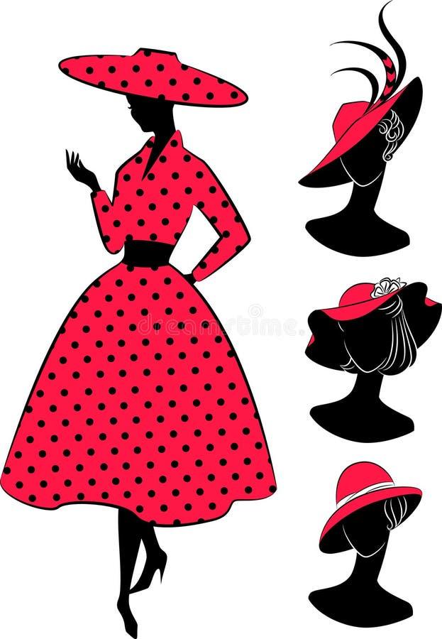 Filles de mode de cru dans le chapeau. illustration de vecteur