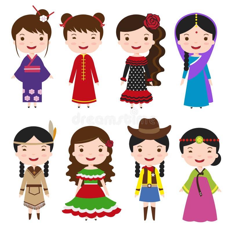 Filles de robe dans des costumes traditionnels illustration stock