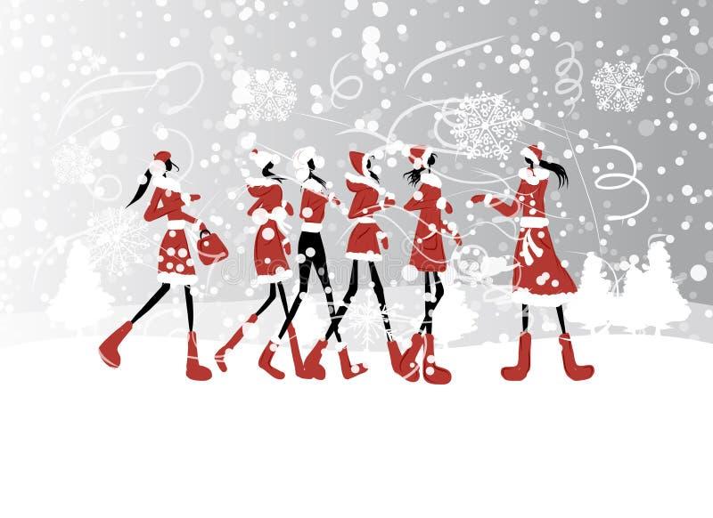 Filles de Santa pour votre conception illustration de vecteur