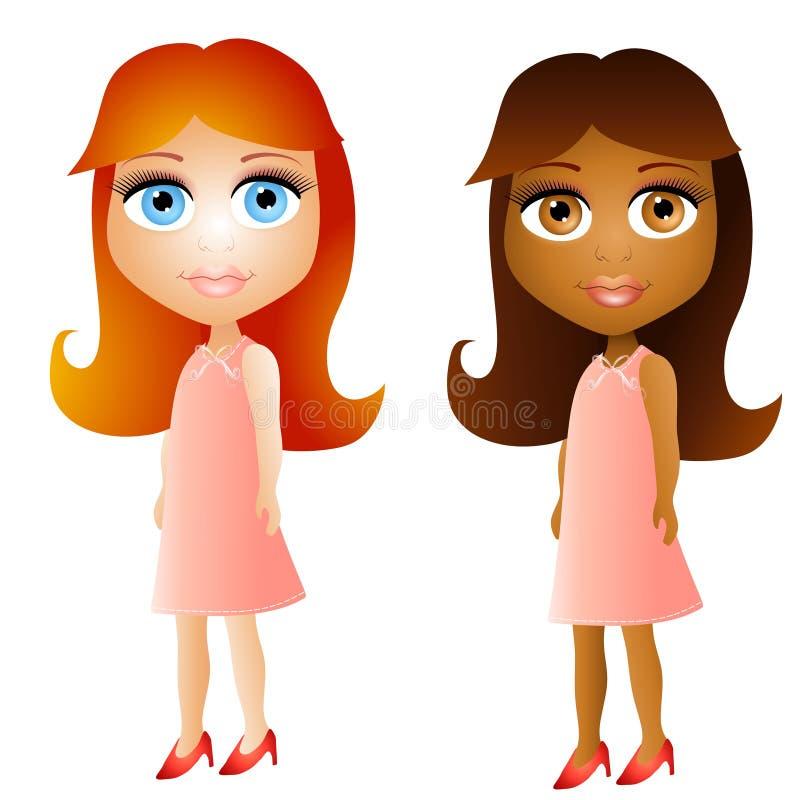 Filles de visage de poupée de dessin animé illustration de vecteur